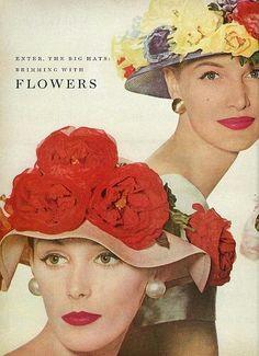 Mode Vintage, Vintage Vogue, Vintage Glamour, Vintage Beauty, Vintage Fashion, Vintage Hats, 1950s Fashion, Vintage Style, Ad Fashion