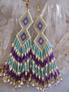 Seed Bead Earrings  Made To Order  Blue/Violet/Cream by pattimacs, $36.00