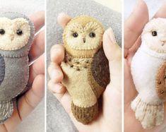 Barn Owl Felt Brooch Woodland Animal Jewelry Ivory White