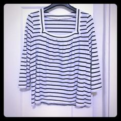 J crew navy & white stripe square neck tissue tee. Super light weight cotton. Square neck with gathering around neck line. 3/4 length sleeves. Great nautical summer staple! J. Crew Tops