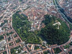 Graz - aerial view of historic city center - with Schlossberg Graz Austria, Strange Cars, Heart Of Europe, Salzburg, City Life, Aerial View, Homeland, Places To See, City Photo