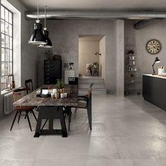 Industrial living space ideato da #abkemozioni. #Floor: collezione #UNIKA di ABK, Grey Antique 60x120cm in #gres #porcellanato. #ceramica #ceramics #tile #livingroom