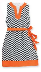 """Black/Orange Game Day Dress- Sleeveless polyester crepe chevron print dress with contrasting neckline, hem and removable waist cinching tie belt. Measures approximately 36"""" from shoulder to hem."""