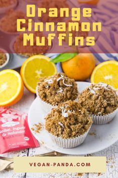 Today I have a Christmas baking recipe for you! Orange muffins with cinnamon, coconut, and ginger. The muffins are perfect for the holiday season - delicious, fast and of course Mug Recipes, Best Vegan Recipes, Vegan Breakfast Recipes, Baking Recipes, Whole Food Recipes, Cake Recipes, Muffin Recipes, Family Recipes, Kitchen Recipes