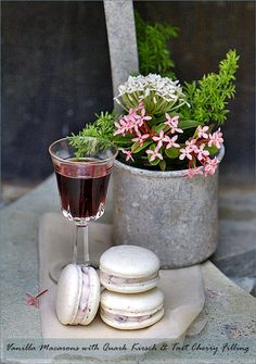 Vanilla Macarons with Quark Kirsch & Tart Cherry Filling  by passionate about baking
