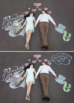 Feeling artsy? This sweet and playful save-the-date, created with chalk, could not be cuter.