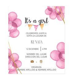 Invitación Baby Shower Globos Rosas - Oh! Yupi Yei