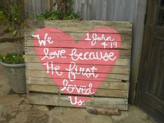 Pallet board wedding sign with bible verse