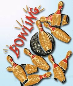 1950s Full Color Vogart Vintage Bowling Pins Uncut Hot Iron No Sew Transfer DARL