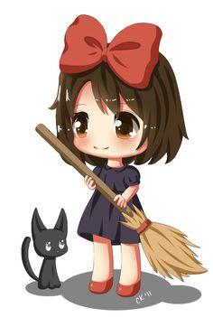 "Chibi Kiki by Cupkik.deviantart.com on @DeviantArt - From Miyazaki's ""Kiki's Delivery Service"""