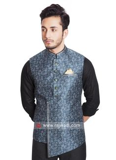 Nehru Jacket For Men, Waistcoat Men, Gents Kurta Design, Boys Kurta Design, Stylish Waistcoats, Engagement Dress For Groom, Mens Traditional Wear, Mens Ethnic Wear, Cotton Silk Fabric