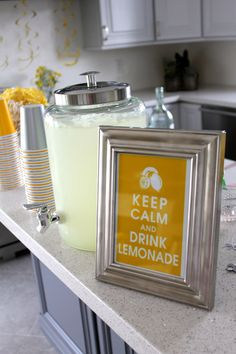Homemade decorations for a DIY engagement party | #lemonade #keepcalm #summerparty
