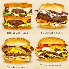 Cheeseburger ideas, more on the site Gourmet Burgers, Burger Recipes, Beef Recipes, Healthy Recipes, Burger Ideas, Junk Food, Burger Party, Sandwiches, Wisconsin Cheese
