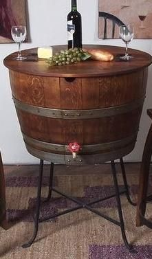 This half wine barrel cooler is sure to be the centerpiece for your next party.     This wine barrel ice chest comes ready to fill with ice to chill your favorite wines or other beverages.