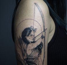 Viking Tattoos, Athena Tattoo, Greek Goddess Tattoo, Tattoos, Bow Tattoo, Greek Tattoos, Sleeve Tattoos, Artemis Tattoo, Greek Mythology Tattoos