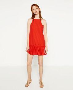 Image 1 of DRESS WITH RUFFLE HEM from Zara