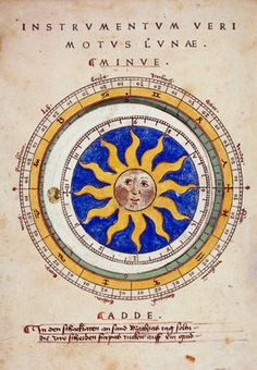 A hand-coloured moveable paper disc for calculating the motion of the moon (1474).
