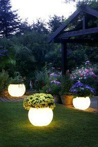 A cool idea using Rustoleums Glow in the Dark paint . . paint it on pots and set them around the deck or pool .. they absorb sunlight during the day and glow at night.. love this!http://www.rustoleumspraypaint.com/product/glow-in-the-dark/