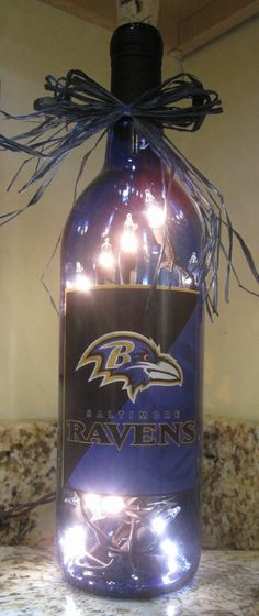 Lighted Bottle Baltimore Ravens. $25.00, via Etsy.
