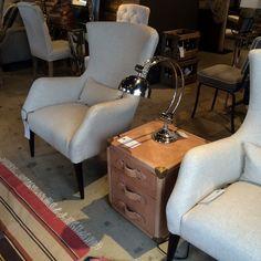 Alfred Chair. #andrewmartin #interiordesign #decor #neutral #sidetable #luggage #tablelamp #sidechair