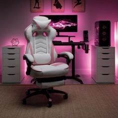 RESPAWN 110 Racing Style Gaming Chair, Reclining Ergonomic Leather Chair with Footrest, in Pink