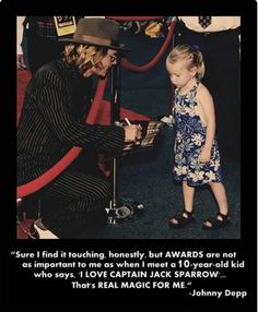 Real magic : Awesome Quote from Johnny depp. I'm not ten, but I love captain Jack sparrow too. Captain Jack Sparrow, Tori Tori, The Meta Picture, Jenifer Lawrence, For Elise, Pirates Of The Caribbean, Celebs, Celebrities, Chris Pine