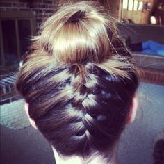 kinda weird but def different. Back french-braid into messy bun.