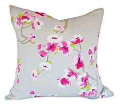 """This Braemore Cherry Blossom Sakura White Tea Pillow Cover is a Stunning Modern Decorative Pillow, that Showcases the ..""""SAKURA WHITE TEA"""". Print Designer Pattern, From the Asian Influence Collection.  This Pattern Features an Oriental Cherry Blossom, Vine and Leaf Floral Design. Colors are Pink, Fuschia, Deep Rose, Off White and Leaf Green, Against a Grey Background, with the Same Fabric on Both Sides.  The Material for this Sensational Trendy Botanical Throw Pillow is Linen"""
