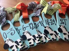 The original. Hang them in your babys closet....voila! Instant organization. These are crafted and ready to ship...fun and funky zebra theme