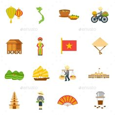 Buy Vietnam Icons Set by macrovector on GraphicRiver. Vietnam travel icons set with palace food and map flat isolated vector illustration. Editable EPS and Render in JPG f. Architecture Tattoo, Ancient Architecture, Vietnam Image, Vietnam Travel Guide, School Icon, Travel Icon, Travel Illustration, Icon Collection, Vector Photo