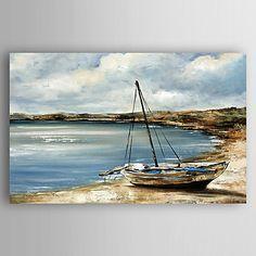 Pintados à mão Paisagem Pinturas a óleo,Modern 1 Painel Tela Hang-painted pintura a óleo For Decoração para casa de 5239156 2016 por R$253,47