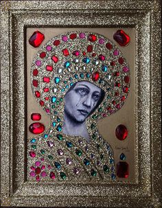 'Mary Weeps' by Adam James K - oil, charcoal, glitter, rhinestones.