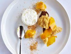 Praline Sponge Cake, Cocoa Yogurt, Cream Bubbles, Mango Petals