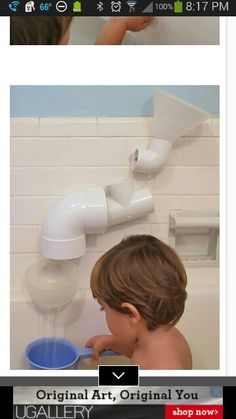 Do your kids love taking baths? Make it even more fun with Hardware Store Bath Toys. Take various PVC pieces, drill holes, insert suction cups, hours of water play! Pvc Projects, Projects For Kids, Diy For Kids, Crafts For Kids, Summer Crafts, Summer Fun, Toddler Fun, Toddler Activities, Counting Activities