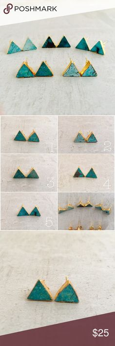 "Natural Turquoise Triangle Studs Beautiful natural turquoise triangular studs. Gold dipped, each earring is a unique, handmade master piece. Choose one of five treasured sets. Picture 2 shows your choices - picture one coordinates front to back, left to right. The individual pictures coordinate 1 - 5. Due to the nature of these beauties any ""flaws"" contribute to the individual characteristic of each piece therefore are highly regarded. 1/8"" x 7/16"" Jewelry Earrings"