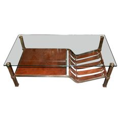 Superieur Unusual Coffee Table, Polite Steel, Glass And Leather