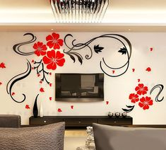 Alicemall Red Flower TV Wall Sticker Acrylic Red Blossom Floral Wall Sticker Chinese Style Removable TV Wall Art Decal Wall Mural For Living Room Decoration 47 x 275 Inch Multi Color 11384776 >>> To view further for this item, visit the image link. Wall Stickers 3d, Wall Stickers Home Decor, Dining Room Walls, Living Room Decor, Kitchen Walls, Wall Decor Pictures, 3d Wall, Home Wall Art, Wall Murals