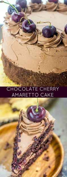 Layers of chocolate and cherries with subtle almond flavors make up this luscious Chocolate Cherry Amaretto Cake, your her face chocolate cake recipe.