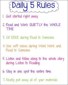 """Exchange all 5 anchor charts and make one into """"Daily 5 Rules"""" saves up wall space."""