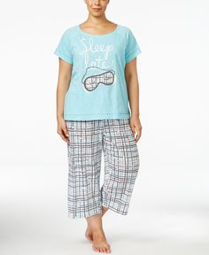 8ee8b36113 Hue Plus Size Appliqué Pajama Set Women - Bras
