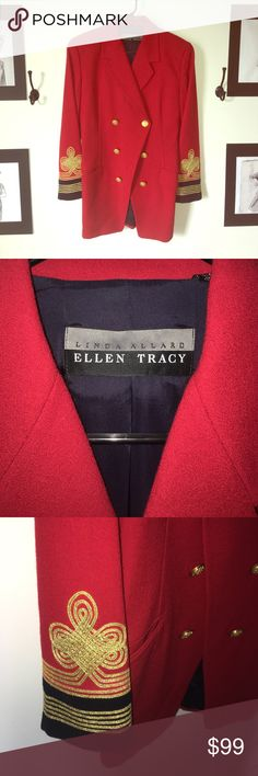 Vintage Linda Allard Ellen Tracy blazer Good condition. 100% wool. Has a couple of pulled strings (see pics). Has extra buttons sewn into inside lining. Linda Allard/Ellen Tracy Jackets & Coats