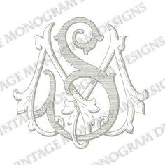 MS monogram or SM monogram - vintage monogram scanned from antique book