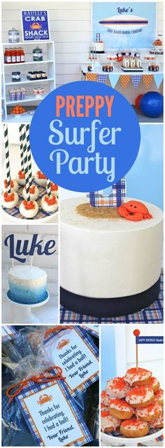 You have to see this outdoor preppy surf party! See more party ideas at CatchMyParty.com!