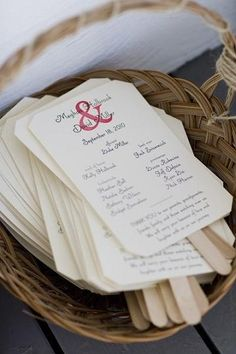 If you're getting married outside, print your wedding programs on cardstock and attach them to thick wooden craft sticks to create a fan! It's a creative presentation and will keep your guests cool!