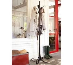 just bought pottery barn coat rack. Could use in living room, mud room, or deck. Coat Tree, Ideas Vintage, Entryway Organization, Entryway Storage, Organized Entryway, Household Organization, Shoe Storage, Organizing Ideas, Standing Coat Rack