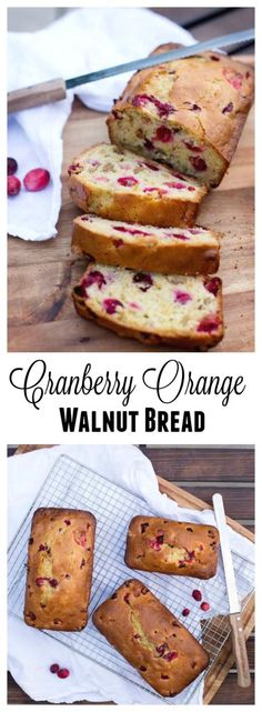 Cranberry Orange Walnut Bread combines sweet orange bread with tart cranberries and crunchy walnuts. Perfect treat for breakfast or brunch!