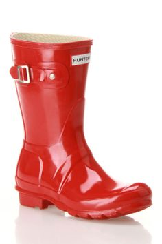 {Original Short Gloss Rain Boots In Pillar Box Red} Hunter -- Just bought these from Nordstrom in black.  Love it!!