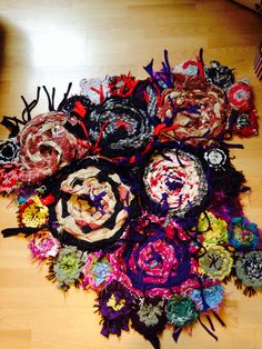 Woven rag rug - nice way to use up old materials :-)