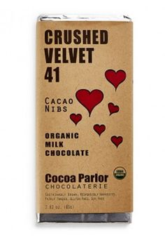 Valentine's Day Chocolate: Handmade using certified organic ingredients sourced from South Africa, mixed with antioxidant-packed cocoa nibs, packaged in recycled papers.