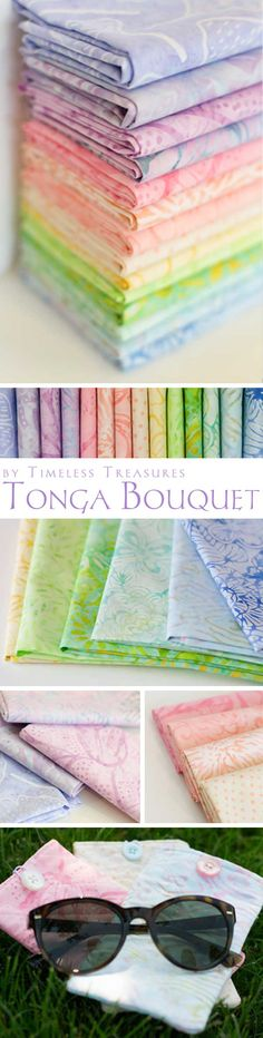 Tonga Bouquet by Timeless Treasures. This is a new collection of beautiful pastel batiks available at Shabby Fabrics.